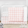 Pink Buffalo Plaid Check Baby Girl Nursery Crib Bedding Set by Sweet Jojo Designs - 4 pieces - Blush and White Shabby Chic Woodland Rustic Country Farmhouse