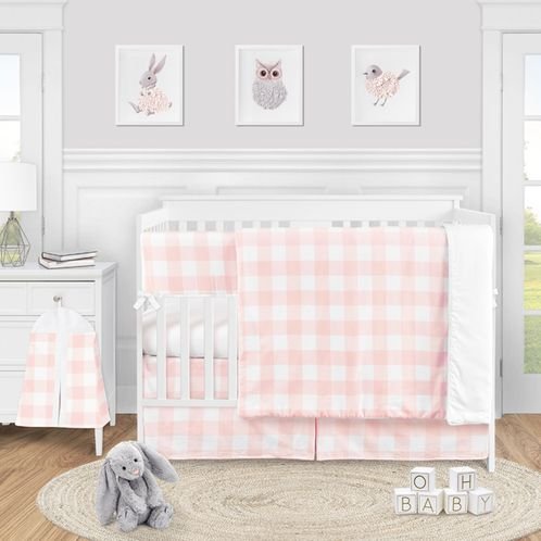 Pink Buffalo Plaid Check Baby Girl Nursery Crib Bedding Set by Sweet Jojo Designs - 5 pieces - Blush and White Shabby Chic Woodland Rustic Country Farmhouse - Click to enlarge