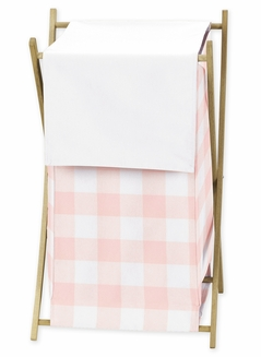 Pink Buffalo Plaid Check Baby Kid Clothes Laundry Hamper by Sweet Jojo Designs - Blush and White Shabby Chic Woodland Rustic Country Farmhouse