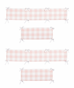 Pink Buffalo Plaid Check Girl Baby Nursery Crib Bumper Pad by Sweet Jojo Designs - Blush and White Shabby Chic Woodland Rustic Country Farmhouse