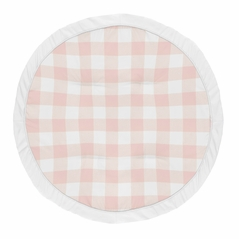 Pink Buffalo Plaid Check Girl Baby Playmat Tummy Time Infant Play Mat by Sweet Jojo Designs - Blush and White Shabby Chic Woodland Rustic Country Farmhouse