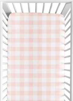 Pink Buffalo Plaid Check Girl Fitted Crib Sheet Baby or Toddler Bed Nursery by Sweet Jojo Designs - Blush and White Shabby Chic Woodland Rustic Country Farmhouse