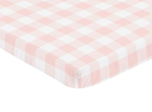 Pink Buffalo Plaid Check Girl Fitted Mini Crib Sheet Baby Nursery by Sweet Jojo Designs For Portable Crib or Pack and Play - Blush and White Shabby Chic Woodland Rustic Country Farmhouse - Click to enlarge