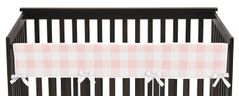 Pink Buffalo Plaid Check Girl Long Front Crib Rail Guard Baby Teething Cover Protector Wrap by Sweet Jojo Designs - Blush and White Shabby Chic Woodland Rustic Country Farmhouse