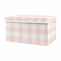 Pink Buffalo Plaid Check Girl Small Fabric Toy Bin Storage Box Chest For Baby Nursery or Kids Room by Sweet Jojo Designs - Blush and White Shabby Chic Woodland Rustic Country Farmhouse