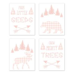 Pink Buffalo Plaid Check Wall Art Prints Room Decor for Baby, Nursery, and Kids by Sweet Jojo Designs - Set of 4 - Blush and White Shabby Chic Woodland Rustic Country Farmhouse Deer Bear