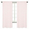 Pink Buffalo Plaid Check Window Treatment Panels Curtains by Sweet Jojo Designs - Set of 2 - Blush and White Shabby Chic Woodland Rustic Country Farmhouse