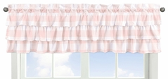Pink Buffalo Plaid Check Window Treatment Valance by Sweet Jojo Designs - Blush and White Shabby Chic Woodland Rustic Country Farmhouse Tiered Ruffles Ruffled