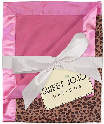 Pink & Cheetah Print Minky and Satin Baby Blanket by Sweet Jojo Designs - Click to enlarge