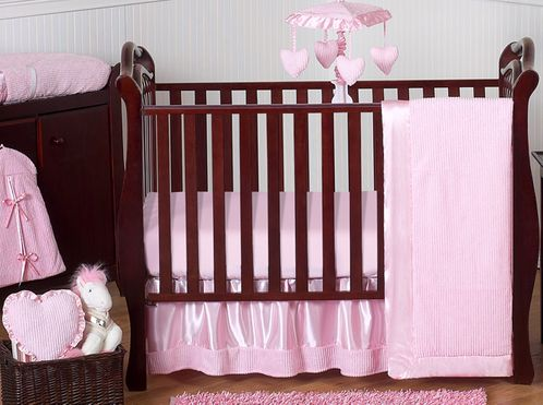 Pink Chenille and Satin Baby Bedding - 11pc Crib Set - Click to enlarge