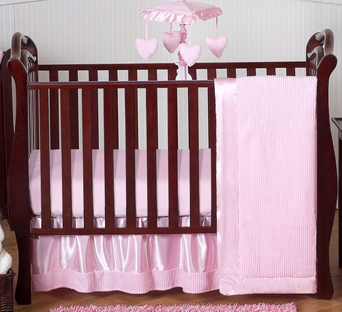 Pink Chenille and Satin Baby Bedding - 4pc Crib Set - Click to enlarge