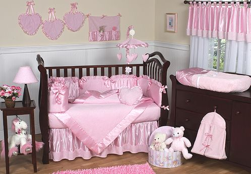 Pink Chenille and Satin Baby Bedding - 9 pc Crib Set - Click to enlarge