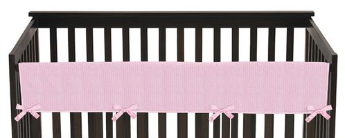 Pink Chenille and Satin Baby Crib Long Rail Guard Cover by Sweet Jojo Designs - Click to enlarge