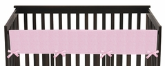 Pink Chenille and Satin Baby Crib Long Rail Guard Cover by Sweet Jojo Designs