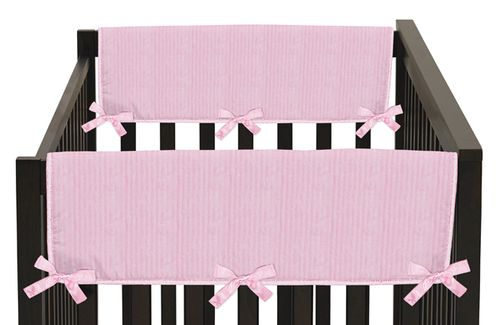 Pink Chenille and Satin Baby Crib Side Rail Guard Covers by Sweet Jojo Designs - Set of 2 - Click to enlarge