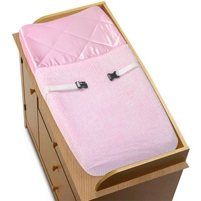 Pink Chenille and Satin Girls Changing Pad Cover - Click to enlarge