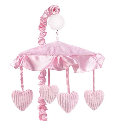 Pink Chenille and Satin Girls Musical Crib Mobile - Click to enlarge