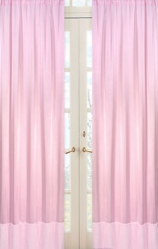 Pink Chenille and Satin Window Treatment Panels - Set of 2 - Click to enlarge