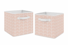 Pink Chevron Arrow Foldable Fabric Storage Cube Bins Boxes Organizer Toys Kids Baby Childrens by Sweet Jojo Designs - Set of 2 - Blush and White for the Watercolor Elephant Safari Collection
