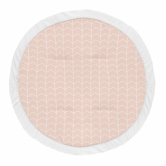 Pink Chevron Arrow Girl Baby Playmat Tummy Time Infant Play Mat by Sweet Jojo Designs - Blush and White for the Watercolor Elephant Safari Collection