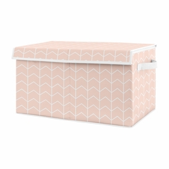 Pink Chevron Arrow Girl Small Fabric Toy Bin Storage Box Chest For Baby Nursery or Kids Room by Sweet Jojo Designs - Blush and White for the Watercolor Elephant Safari Collection