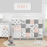Pink Elephant Safari Baby Girl Nursery Crib Bedding Set by Sweet Jojo Designs - 5 pieces - Blush Grey and White Watercolor Animal