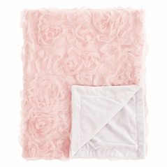 Pink Floral Rose Baby Girl Blanket Receiving Security Swaddle for Newborn or Toddler Nursery Car Seat Stroller Soft Minky by Sweet Jojo Designs - Solid Light Blush Flower Luxurious Elegant Princess Vintage Boho Shabby Chic Luxury Glam High End Roses
