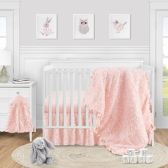 Pink Floral Rose Baby Girl Nursery Crib Bedding Set by Sweet Jojo Designs - 4 pieces - Solid Light Blush Flower Luxurious Elegant Princess Vintage Boho Shabby Chic Luxury Glam High End Ruffle Roses