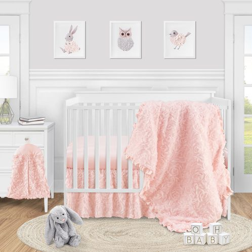 Pink Floral Rose Baby Girl Nursery Crib Bedding Set by Sweet Jojo Designs - 4 pieces - Solid Light Blush Flower Luxurious Elegant Princess Vintage Boho Shabby Chic Luxury Glam High End Ruffle Roses - Click to enlarge