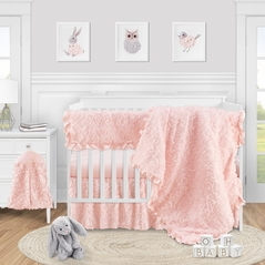 Pink Floral Rose Baby Girl Nursery Crib Bedding Set by Sweet Jojo Designs - 5 pieces - Solid Light Blush Flower Luxurious Elegant Princess Vintage Boho Shabby Chic Luxury Glam High End Ruffle Roses