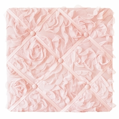 Pink Floral Rose Fabric Memory Memo Photo Bulletin Board by Sweet Jojo Designs - Solid Light Blush Flower Luxurious Elegant Princess Vintage Boho Shabby Chic Luxury Glam High End Roses