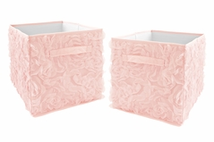 Pink Floral Rose Foldable Fabric Storage Cube Bins Boxes Organizer Toys Kids Baby Childrens by Sweet Jojo Designs - Set of 2 - Solid Light Blush Flower Luxurious Elegant Princess Vintage Boho Shabby Chic Luxury Glam High End Roses