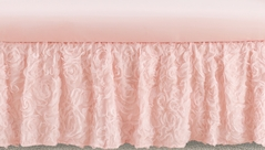 Pink Floral Rose Girl Baby Nursery Crib Bed Skirt Dust Ruffle by Sweet Jojo Designs - Solid Light Blush Flower Luxurious Elegant Princess Vintage Boho Shabby Chic Luxury Glam High End Roses