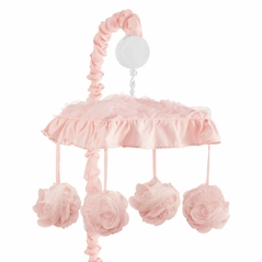 Pink Floral Rose Girl Baby Nursery Musical Crib Mobile by Sweet Jojo Designs - Solid Light Blush Flower Luxurious Elegant Princess Vintage Boho Shabby Chic Luxury Glam High End Ruffle Roses