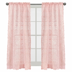 Pink Floral Rose Window Treatment Panels Curtains by Sweet Jojo Designs - Set of 2 - Solid Light Blush Flower Luxurious Elegant Princess Vintage Boho Shabby Chic Luxury Glam High End Roses