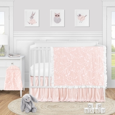 Pink Floral Vintage Lace Baby Girl Nursery Crib Bedding Set by Sweet Jojo Designs - 4 pieces - Solid Light Blush Crinkle Crushed Velvet Luxurious Elegant Princess Boho Shabby Chic Luxury Glam Flower High End Boutique Ruffle