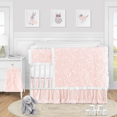 Pink Floral Vintage Lace Baby Girl Nursery Crib Bedding Set by Sweet Jojo Designs - 5 pieces - Solid Light Blush Crinkle Crushed Velvet Luxurious Elegant Princess Boho Shabby Chic Luxury Glam Flower High End Boutique Ruffle