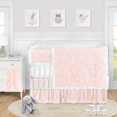 Pink Floral Vintage Lace Baby Girl Nursery Crib Bedding Set by Sweet Jojo Designs - 5 pieces - Solid Light Blush Crinkle Crushed Velvet Luxurious Elegant Princess Boho Shabby Chic Luxury Glam Flower High End Boutique Ruffle - Click to enlarge