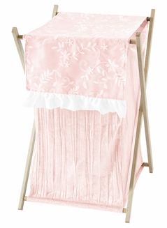 Pink Floral Vintage Lace Baby Kid Clothes Laundry Hamper by Sweet Jojo Designs - Solid Light Blush Crinkle Crushed Velvet Luxurious Elegant Princess Boho Shabby Chic Luxury Glam Flower High End Boutique Ruffle