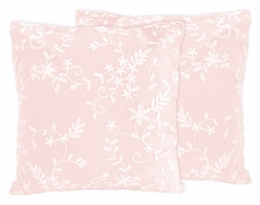 Pink Floral Vintage Lace Decorative Accent Throw Pillows by Sweet Jojo Designs - Set of 2 - Solid Light Blush Luxurious Elegant Princess Boho Shabby Chic Luxury Glam Flower High End Boutique