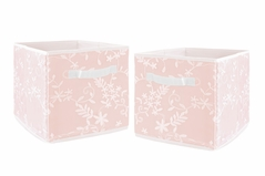 Pink Floral Vintage Lace Foldable Fabric Storage Cube Bins Boxes Organizer Toys Kids Baby Childrens by Sweet Jojo Designs - Set of 2 - Solid Light Blush Luxurious Elegant Princess Boho Shabby Chic Luxury Glam Flower High End Boutique