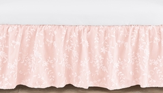 Pink Floral Vintage Lace Girl Baby Nursery Crib Bed Skirt Dust Ruffle by Sweet Jojo Designs - Solid Light Blush Luxurious Elegant Princess Boho Shabby Chic Luxury Glam Flower High End Boutique