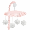 Pink Floral Vintage Lace Girl Baby Nursery Musical Crib Mobile by Sweet Jojo Designs - Solid Light Blush Crinkle Crushed Velvet Luxurious Elegant Princess Boho Shabby Chic Luxury Glam Flower High End Boutique Ruffle