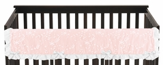Pink Floral Vintage Lace Girl Long Front Crib Rail Guard Baby Teething Cover Protector Wrap by Sweet Jojo Designs - Solid Light Blush Crinkle Crushed Velvet Luxurious Elegant Princess Boho Shabby Chic Luxury Glam Flower High End Boutique Ruffle