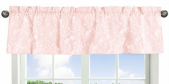 Pink Floral Vintage Lace Window Treatment Valance by Sweet Jojo Designs - Solid Light Blush Luxurious Elegant Princess Boho Shabby Chic Luxury Glam Flower High End Boutique