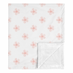 Pink Flower Blossom Baby Girl Blanket Receiving Security Swaddle for Newborn or Toddler Nursery Car Seat Stroller Soft Minky by Sweet Jojo Designs - Blush Shabby Chic Farmhouse Daisy for Burgundy Watercolor Floral Collection