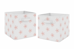 Pink Flower Blossom Foldable Fabric Storage Cube Bins Boxes Organizer Toys Kids Baby Childrens by Sweet Jojo Designs - Set of 2 - Blush and White Shabby Chic Farmhouse Daisy for Burgundy Watercolor Floral Collection