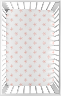 Pink Flower Blossom Girl Fitted Mini Crib Sheet Baby Nursery by Sweet Jojo Designs For Portable Crib or Pack and Play - Blush and White Shabby Chic Farmhouse Daisy for Watercolor Floral Collection
