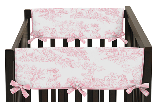 Pink French Toile Baby Crib Side Rail Guard Covers By Sweet Jojo Designs Set Of 2 Only 34 99