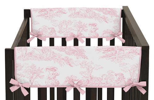 Pink French Toile Baby Crib Side Rail Guard Covers by Sweet Jojo Designs - Set of 2 - Click to enlarge